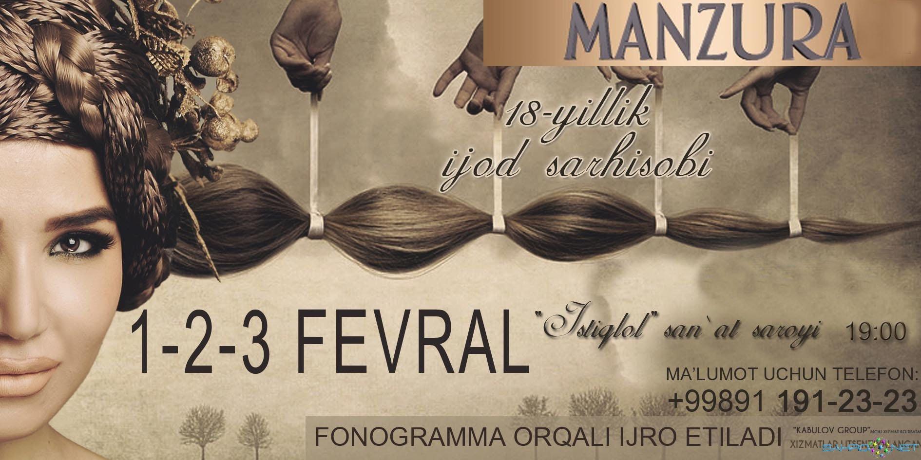 """Manzura - """"18-yillik ijod sarhisobi"""" nomli konsert dasturi 2015"""